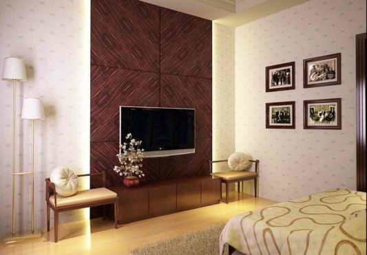 bedroom design with tv mounted the wall