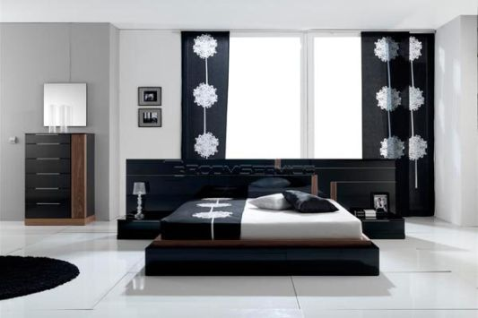 Black and white modern bedroom set design inspiration for Master bedroom black and white ideas