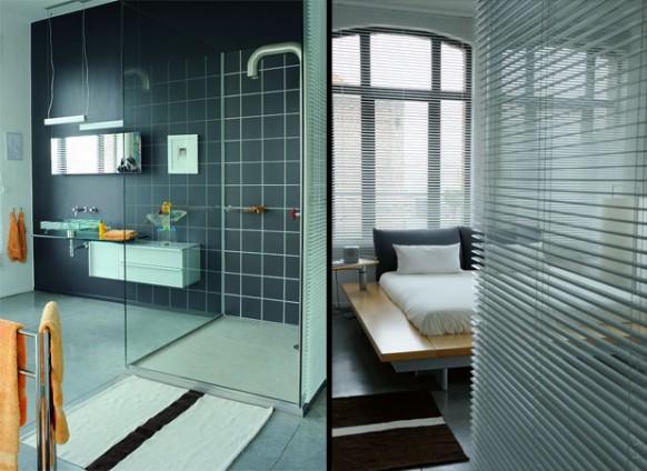 black and white loft bathroom concept