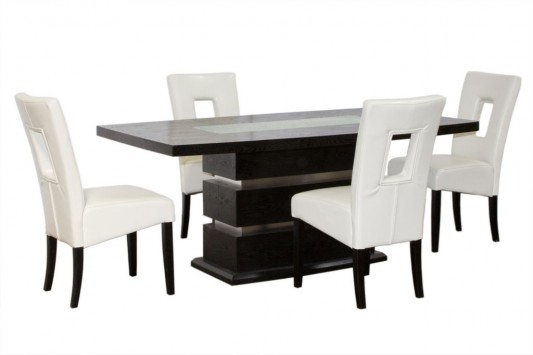 black and white luxurious dining room furniture set