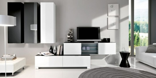 Black And White Minimalist Living Room TV Cabinet Design Ideas