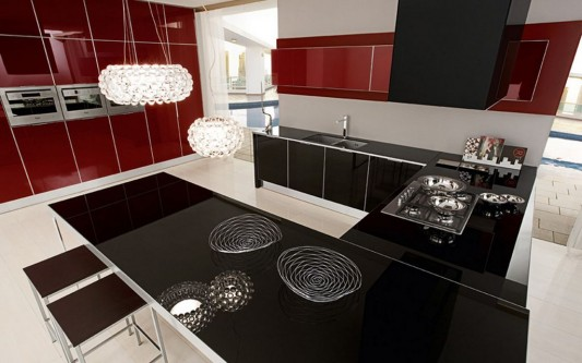 black lacquered glass kitchen island design
