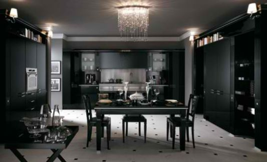 Black Luxurious Classic Kitchen For Comtemporary Home