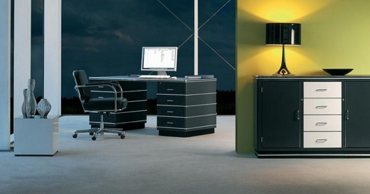 Black Retro Modern Executive Office Desk And Cabinet