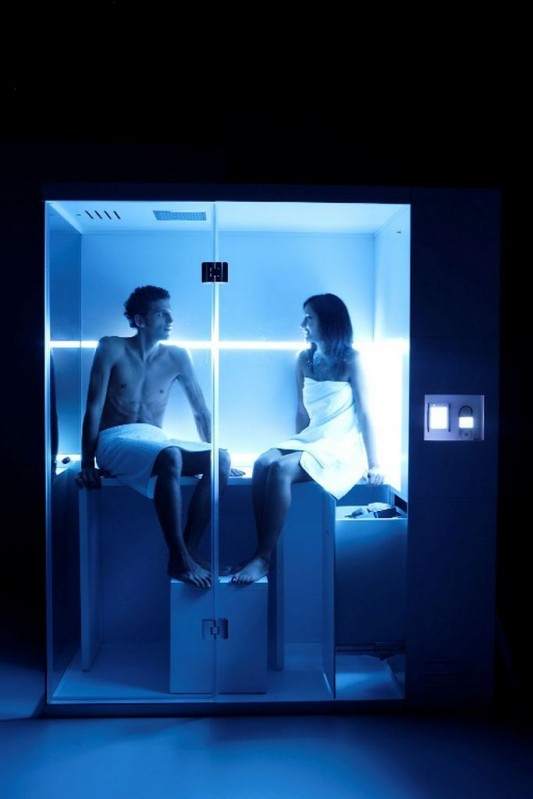 blue LED lighting therapy for compact shower and sauna