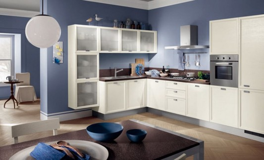 blue and white dynamic kitchen decorating design