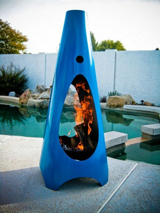 blue colored finishing Modfire outdoor fireplaces