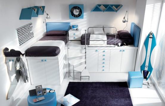 blue loft teenage bedroom design
