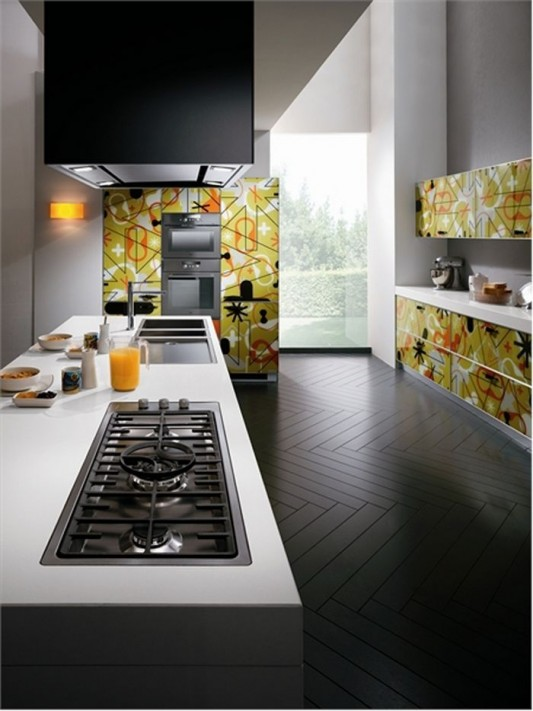 bright and colorful kitchen ideas with beautiful pattern