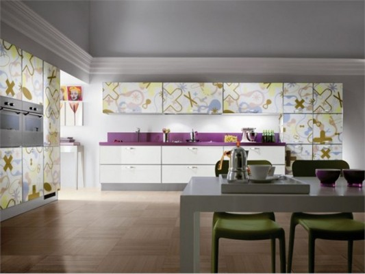 bright modern kitchen cabinet crystal collection by Karim Rashid for Scavolini