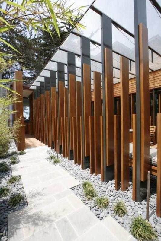 carmel residence mahogany wooden wall ideas