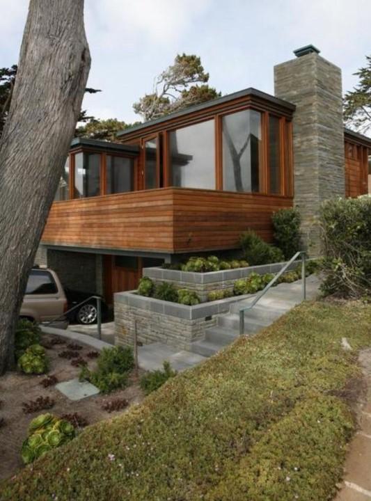 carmel residence wooden mahogany beach house concept