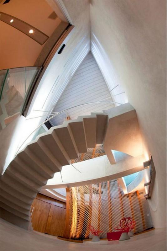circular staircase in modern office design