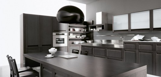 classic trendy kitchen design with black color