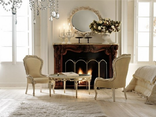 classical bedroom interior with warm and romantic fireplace