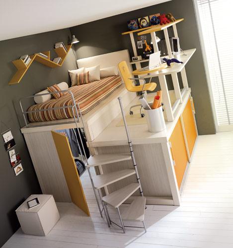 closet under the bed on yellow loft teenage bedroom