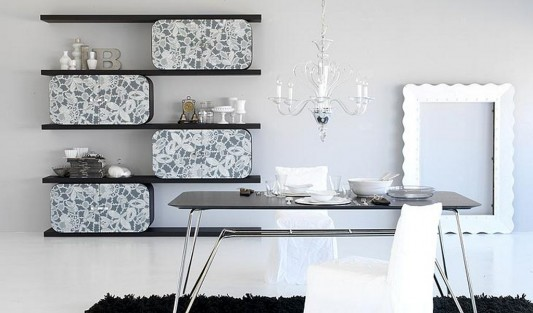 cocoon curved plywood shelving with black and white flower motifs