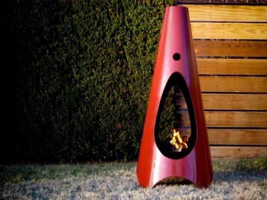 colored outdoor fireplaces design