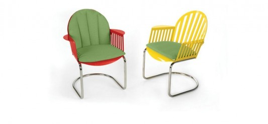 colorful and minimalist Dining Chair, Tube Base with Seat and Back Pads