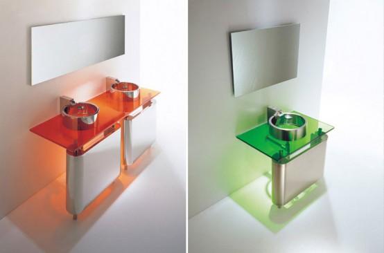 colorful glass washstands bathroom interior design