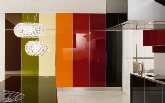 colorful glossy lacquered kitchen design ideas