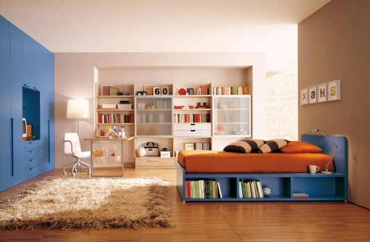 colorful kids bedroom decor with contemporary storage system