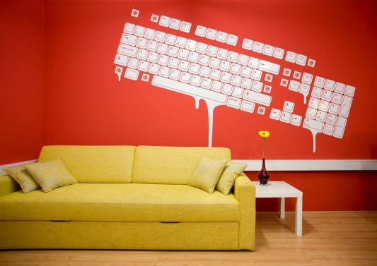 colorful office interior -with cool keyboard wall decal