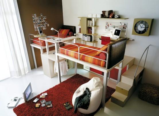 colorful red orange teenage loft bedroom