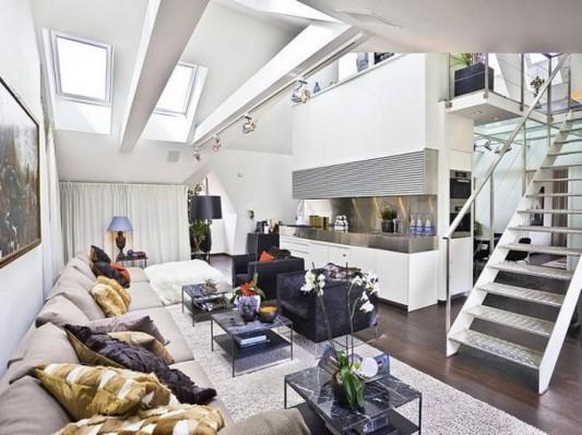 comfortable loft apartment living room design