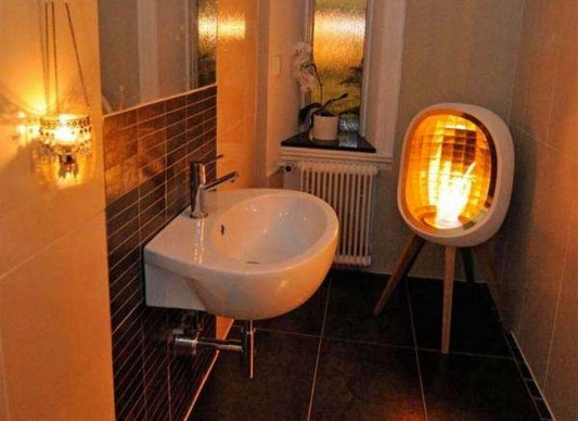 compact and practical corner bathroom fireplaces