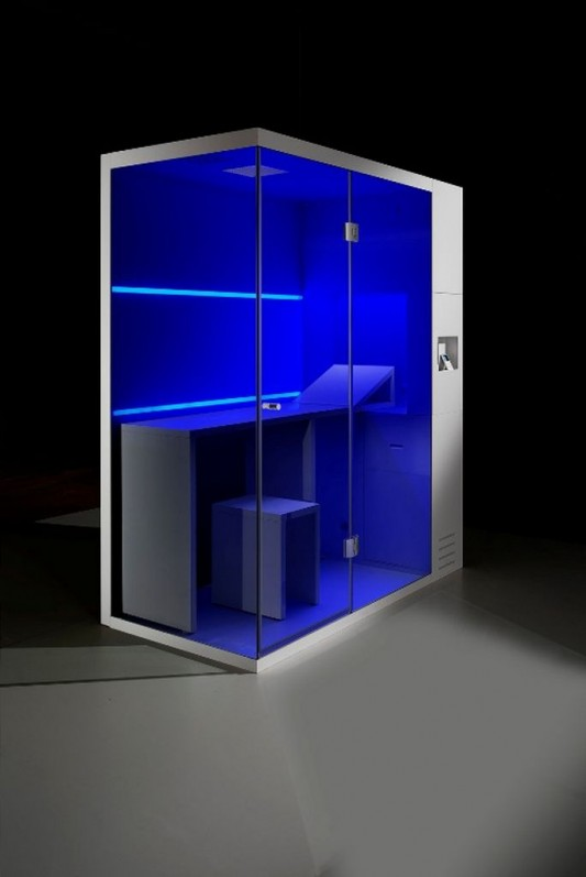 compact revolution and sauna with blue LED lighting
