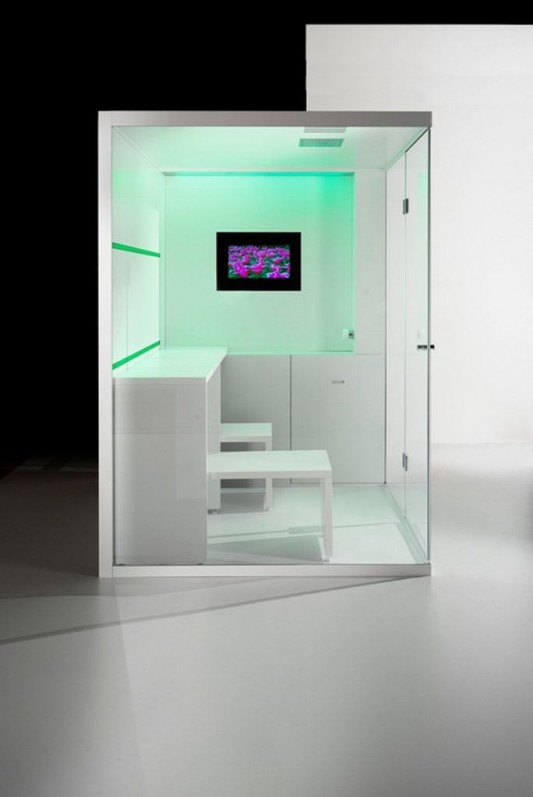 compact shower box and sauna with multimedia system