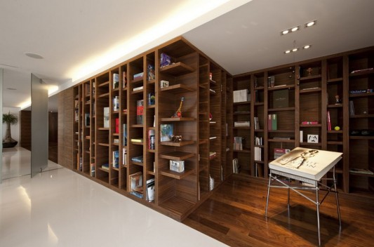 contemporary apartment interior with wooden cabinet as partition room