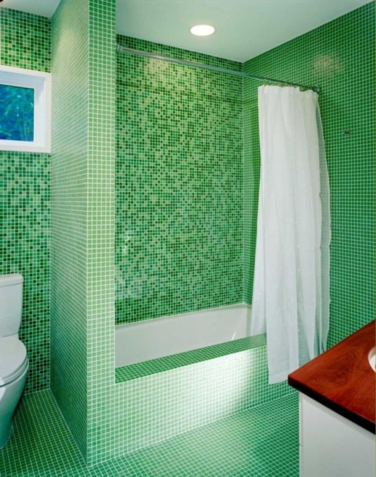 contemporary bathroom with green mosaic tile
