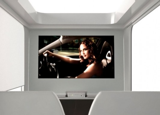 contemporary canopy bed with hi-tech LCD TV Screen