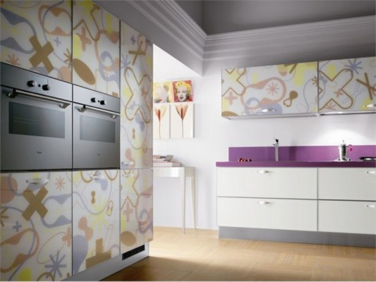 contemporary crystal kitchen cabinets by Scavolini with beautiful pattern
