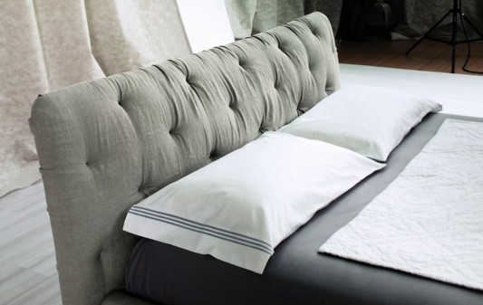 contemporary double bed design with comfortable headrest