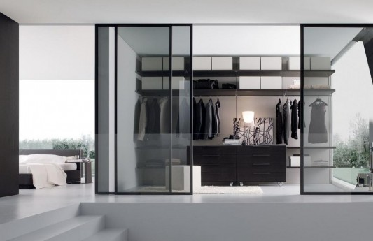 Contemporary Gl Sliding Door Walk In Closet