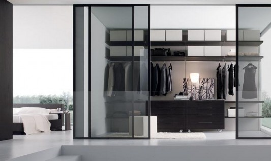 Contemporary Glass Sliding Door Walk In Wardrobes Minimalist Design