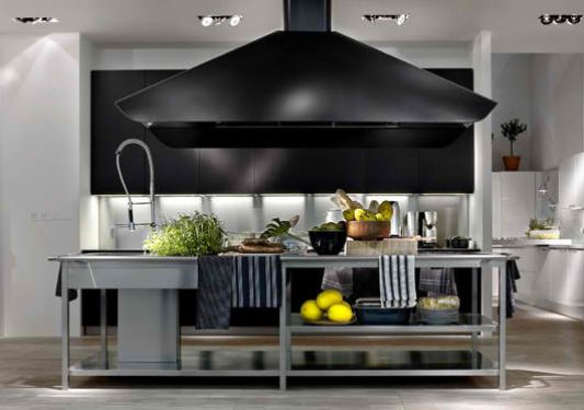 Modern stainless steel and wood kitchen design el by elmar