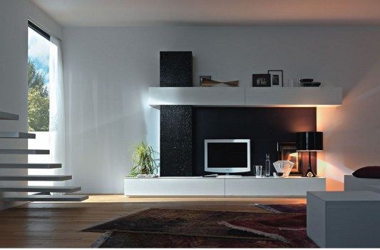 Contemporary Living Room Wall Unit System Furniture Set Part 77