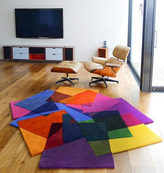 contemporary living room with colored inspirational rugs