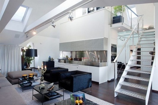 Contemporary loft apartment interior design with glass floor ideas by upgrade living home - Small modern houses with loft the practical choice ...