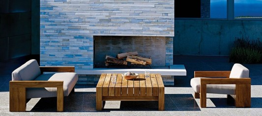 contemporary solid wood outdoor sofa and coffee table