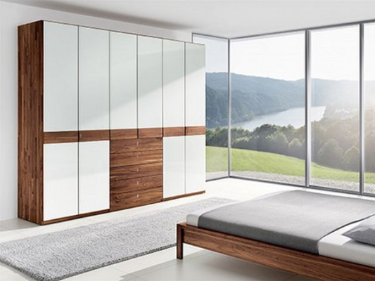 contemporary solid wood wardrobes with drawers combination