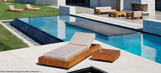 contemporary swimming pool deck design ideas with solid wood furniture