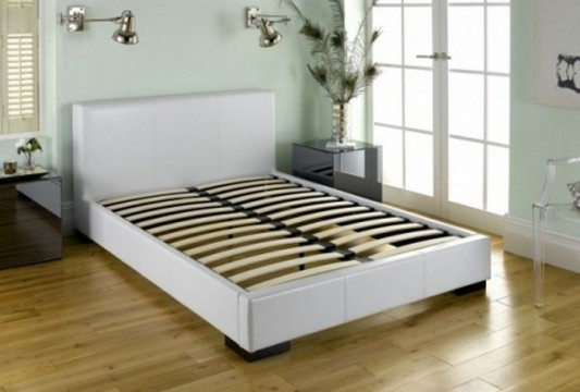 contemporary white leather bed structure
