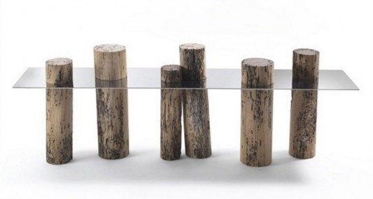 contemporary wood table lagoon Claudio Bellini