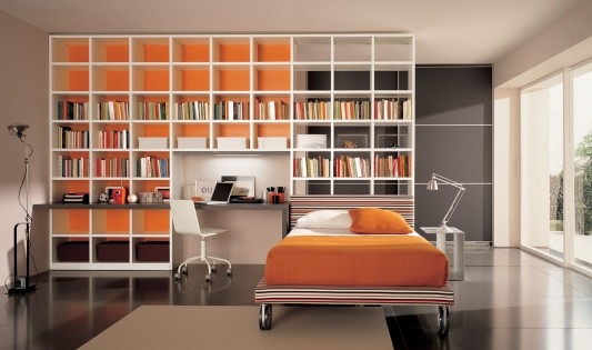 contemporary young bedroom with minimalist bookshelves furniture design