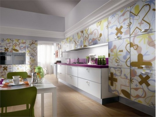 cool and colorful contemporary kitchen cabinet design by Scavolini